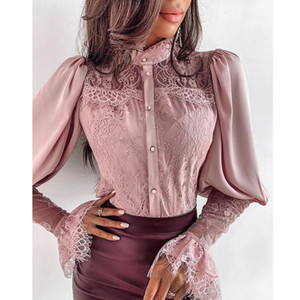 2019 New Style Women Clothing Long Sleeve Lace Tops Female Shirt Ladies Korean Fashion Blouse Autumn