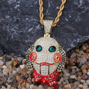 European and American chainsaw ghost puppet mask Pendant Oil drop Zircon Pendant Fashion men and women hip hop ornaments Pendant