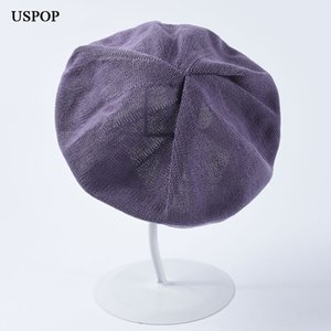 USPOP 2019 New fashion summer berets vintage solid color thin knit beret women cotton hat female breathable spring hats