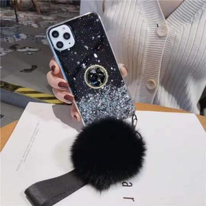Winter Plush Hair Ball Strap Phone case For Samsung A50 A70 A20E A10S A20S A80 A72 5G J4Plus J6Plus Glitter Ring Holder Coque