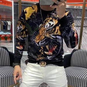 2020 T luxo de mangas compridas homme longo tendência de alta qualidade camisa marca pesada moda quente broca cabeça t-shirt homens 5tja
