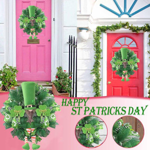St Patrick's Day Leprechaun Wreath Garlands Ornaments Pendant Clovers Leprechaun Ribbon Very Weather Wall Door Party Deco 2021