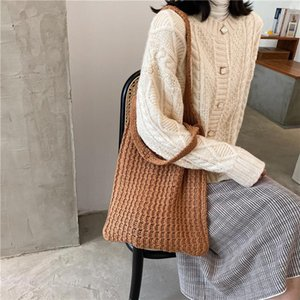 New Wool Knitted Shoulder Shopping Vintage For Cloth Handbag 2021 Bag Cotton Fashion Large Tote Shopper Bag Women Female Girls Ihphl