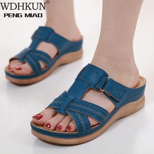 Fashion Women's Summer Open Toe Comfy Sandals Super Soft Orthopedic Low Heels Walking Sandals Corrector Cusion 35~43