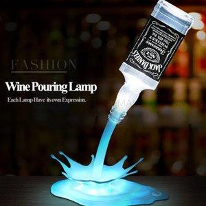 Yenilik Lambayı dökün LED Gece Işık Şarap Dökün Şarap 3D Şarj Edilebilir USB Dokunmatik Anahtarı Fantezi Şarap Şişesi Standı Dekorasyon Bar Parti Lambaları