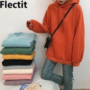 Flectit donna oversize con cappuccio anteriore Pouch Pocket Spesso Fleece Felpa pastello colori di base con cappuccio Felpe / 201008