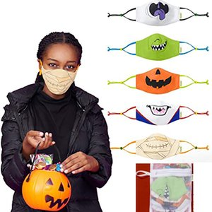 5pcs Package Halloween Protective Covers Washable Reusable Halloween Protection Cover For Men Women Funny Cartoon Masks HH9-3343