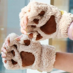 Yerel stok DOĞRUDAN FIRSATI Kış Kadınlar Sevimli Kedi Pençesi Peluş Eldivenler Kısa Parmaksız Eldiven Yarım Parmak