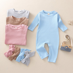kids clothes girls boys Solid Colors Romper infant Toddler Jumpsuit With Headband Onesies 2021 Spring Autumn Newborn baby Climbing Clothes