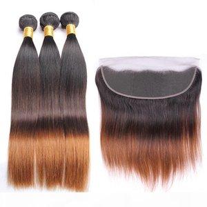 Dark Root # 1B-30 Medium Auburn Ombre Виргинских утков волос с фронтальным Straight 3Tone Ombre 13x4 Lace фронтального Закрытия с Weave Связкой