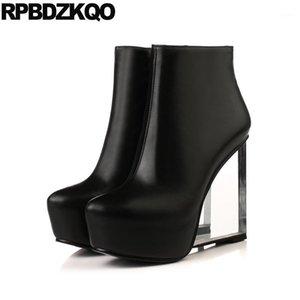 مثير كبير العلامة التجارية المتطرفة السود السود النساء صنم واضح الأصفر الأبيض منصة الأحذية الأحذية إسفين عالية الكعب الجوارب الفاخرة الغريبة dancer1