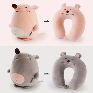 Portable Pillows 2 in 1 U-shaped Pillow Cartoon Deformation Pillow Can be Transformed Kids Toy Penguin Whale Foam Particles HHXD24377