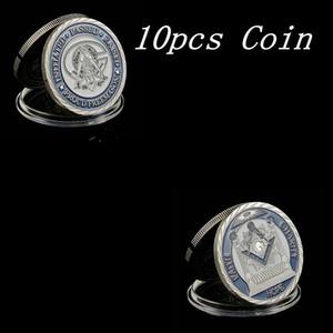 10pcs Freemason Masonic Lodge Masonic Symbols Token Silver Plated Collectible Coin Gift Creative Coin