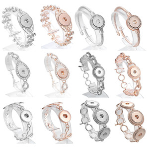 New Fashion Chain Bracelets Metal Snap Bracelet Bangles Fit Rose Gold 18mm Snap Buttons DIY Snap Jewelry for Women