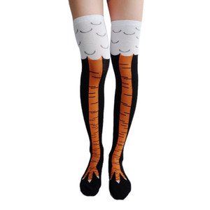 Funny Women Print Animal Stocking Thin Tube Socks Over The Knee Chicken Feet Socks Thigh High Stockings Socks Winter Warm Thermal Soxs