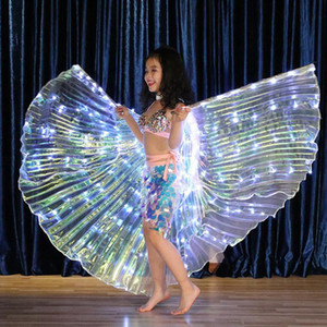 Kids Led Isis Wings with Adjustable Stick White Color Child Girls Led Belly Dance Wings Stage Dance Wear Performance Kids Shawls Cape