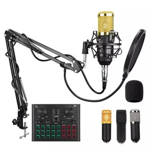 BM 800 Microphone with V8 PLUS Sound Card BM800 Microphone Professional Condenser for PC Podcast Gaming TikTok DJ