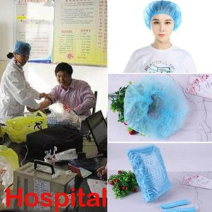 100 X Disposable Head Cover Mob Cap Hat Hair Net Non Woven 2020 New Arrival Blue Anti Dust Hats