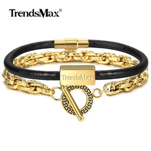 Stack Man Leather Dlbf56 Of For 2 Set Genuine Gold Bracelet Trendsmax Women Twist Luxury Chain Jewelry Steel Stainless tsetnGz whole2019