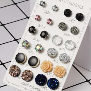 Sumeng 12 Pairs 2020 New Fashion Earrings For Women Assorted Crystals Druzy Stone Resin Stone Round Stud Earrings Set Gifts sqclBF bdecoat