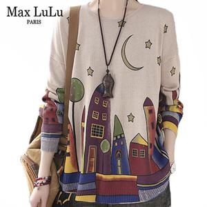 Max Lulu estilo británico Spring Fashion casual de las señoras Impreso suéteres mujeres sueltan de gran tamaño con capucha Mujer de punto Puentes 201008