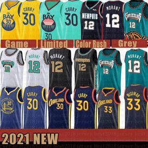 2021 Nuevo MemphisGrizzliesNuevo estado de oro para hombreGuerrerosJersey Stephen 30 Curry James 33 Wiseman Ja 12 Morant Purple