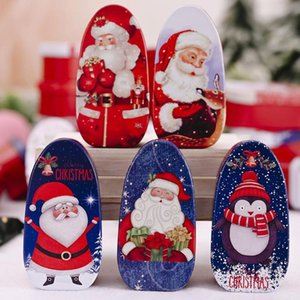 Cute Iron Christmas Santa Snowman Pattern Tinplate Candies Biscuits Box Container With Lid Party Xmas Gift Random Color
