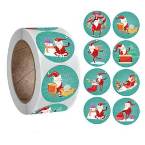 Xmas Home Decor Regalo Adesivo Santa Claus Elk Snowman Style Cartoon Pattern Decorazione Sticky Carta Festival Party Adesivi Vendita calda 2 6JK L2