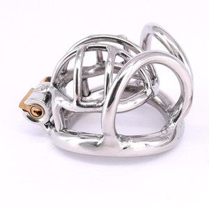 Stainless Steel Male Chastity Cage Short Metal Cockring Curved Testicle Bondage Gear Chastity Devices Balls Locking Ring for Men