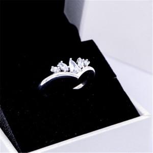 Bijuterias 2020 925 Sterling Silver Pandora Sparkling Pear Marquise Wishbone CZ Anel Para Mulheres Amantes / casamento / anel comemorativo