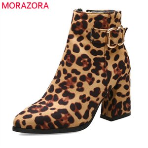 2020 Newest women ankle boots Leopard autumn winter boots zip buckle pointed toe high heels dress prom shoes ladies210