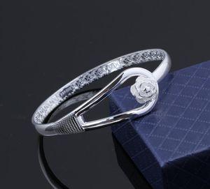 Bangle Bracelets 925 Sterling Silver Rose Flower Cuff Fashion Bangle For Women Jewelry Free wmtLnU bdedome