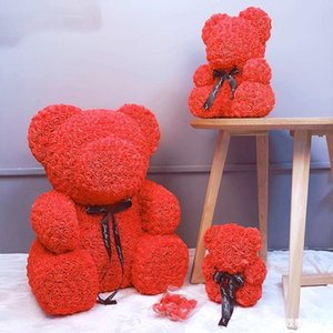 Christmas 20cm Bear Roses Gift Gift Box Bear Rose Soap Foam Flower Artificial New Year Gifts For Women
