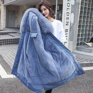 Outono Inverno Casacos Mulheres Fur Collar Longo Parkas Imitação Rabbit Fur Forro de Inverno Casacos Casual Cotton Womens Outwear 201015