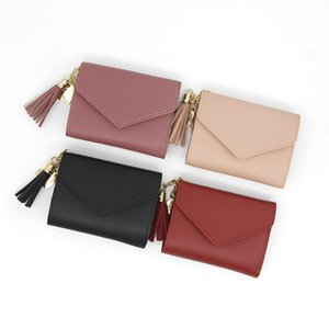 Fashion Short Wallets for Women Small Leather Tassel Wallet Lady Cute Mini Coin Purse Clutch Card Case Holder with ID Window Kimter-K344FA