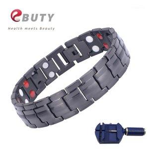 Ebuty Black männer Sport Armband Titan Energy Magnet Gesundheit Armband Armband Armbänder mit Ionen Germanium Tanne Stein Modeschmuck1