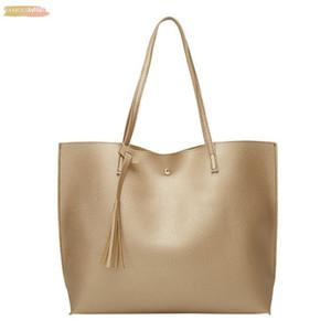Elegant Women Tassel Shoulder Bag Fashion Fringe Solid Classic Handbag Large Capacity Shopping Shoulder Tote Handbag Bags