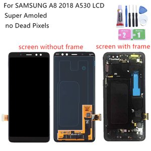 Super AMOLED For Samsung A8 lcd A530 2018 touch screen digitizer Assembly A530f with frame replacement repair parts