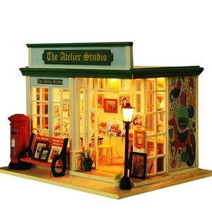 Деревянная Diy Dockhouse Игрушка Миниатюрная коробка Головоломки Кукольный Дом DIY Комплект Кукольный Дом Мебель Для Дети Дома Модель Подарочная Игрушка для детей Y200413