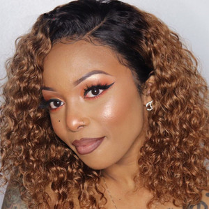 Colored Lace Front Human Hair Wigs For Women hd Curly Lace Front Wig Ombre Human Hair Wig Bob Lace Part Wig