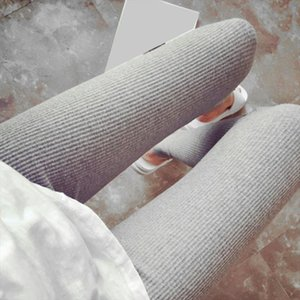 New Autumn and Winter Cotton Ninth Pants Leggings Thread Slim Thicker Solid Color Softer Keep Warm Leggings White Black grey