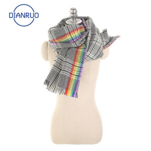 Dianruo Hot Sciarpa addensata calda Scialle di modo caldo scialle grigio Rainbow Sciarpe Donne Semplici Plaid Wraps Imitazione Cashmere Sciarpa R631