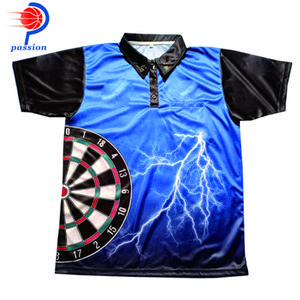 Men's High Quality Customized Design Blue Lightening Dart Shirts With 100% Quick Dry Material Chine Reliable Supplier