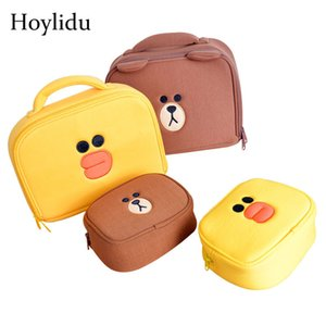 Cartoon Cosmetic Bags Women Cute Bear Duck Cosmetics Box Case For Girls Make Up Travel Organizer Beauty Toiletry Makeup Pouch 201113