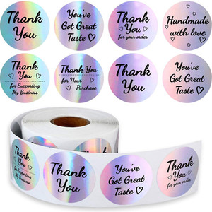 Rainbow Thank You Stickers Black Ink Holographic Silver Business Sticker 500 Labels Different Word for Business Boutiques Shop