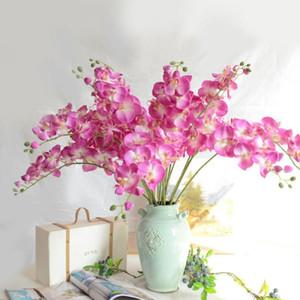 1 tête 3D papillon artificiel des fleurs d'orchidée de la soie fleurs de soie faux mite flor orchidée pour la décoration de bricolage de mariage