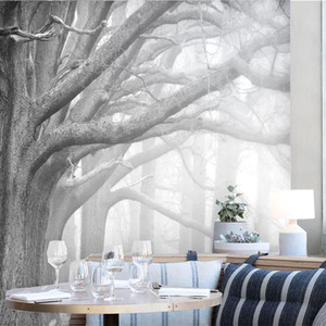 Wallpaper Large Size Wholesale AL-MULK Custom Wallpaper Mural Self-Adhesive Black Big Tree FQ209 Background Decoration Modern Style