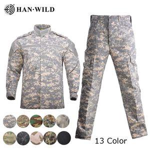 남자 육군 통일 전술 정장 전술 재킷 세트 특수 부대 전투 셔츠 코트 바지 세트 카모 Militar 군인 의류 13Color