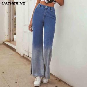 Mulher jeans de cintura alta roupa larga perna denim roupas azul streetwear qualidade vintage 2020 moda harajuku calças retas # J31