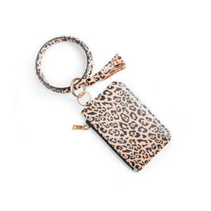 Women Fashion Floral Leopard Leather Bracelet Keychain Credit Card Wallet Key Rings with Tassel Wristbands Clutch Purse DDB4409